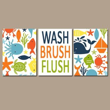 OCEAN Bathroom Wall Art,Sea Animals Bathroom,Child Bathroom Art,Canvas or Prints,Girl Boy Bath,Wash Brush Flush,Kid Bath Rules,Set of 3