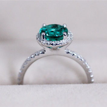 6.5mm Round Emerald Ring Diamond Solid 14K White Gold Emerald Engagement Ring Wedding Ring Anniversary Ring