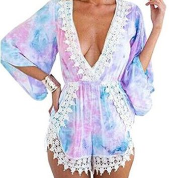 Women's Bohemian Rainbow Printed Casual Rompers Jumpsuit