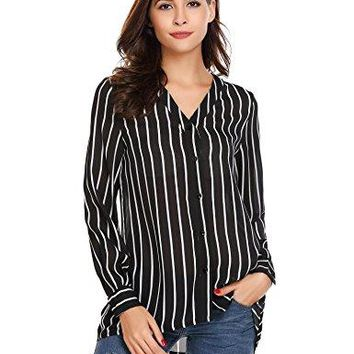 Womens Ladies Juniors Girls Striped Button Down Shirt Long Sleeve V Neck Chiffon Blouse Tops SXL