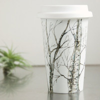 EcoFriendly Painted Ceramic Travel Mug Birch Trees by yevgenia