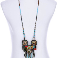 NECKLACE / MICRO BEAD / FELT / LUCITE BEAD / WOODEN BEAD / BEAD CHAIN / 5 1/4 INCH DROP / 36 INCH LONG / NICKEL AND LEAD COMPLIANT