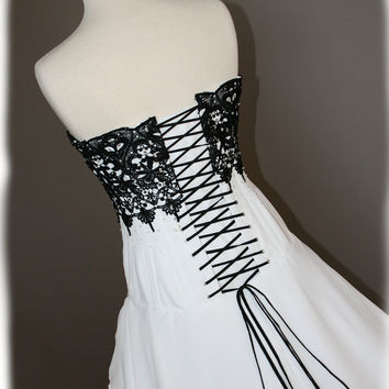 Black and White Wedding Dress Gothic Black Lace Custom by AvailCo