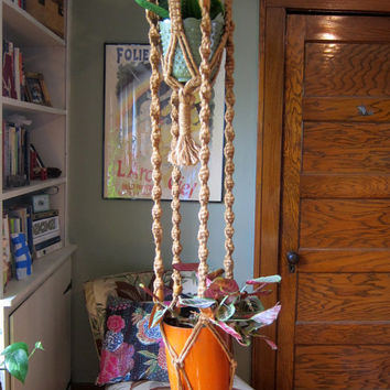 20% OFF SALE Vintage extra large macrame double Plant Hanger with wooden beads / boho home decor