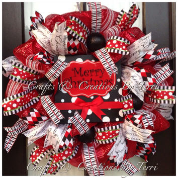 Christmas Wreath - Merry Christmas Wreath -  Red Black & White Wreath - Christmas Decor - Deco Mesh Wreath - Door Decor - Ready To Ship