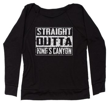 Straight Outta King's Canyon Slouchy Off Shoulder Oversized Sweatshirt