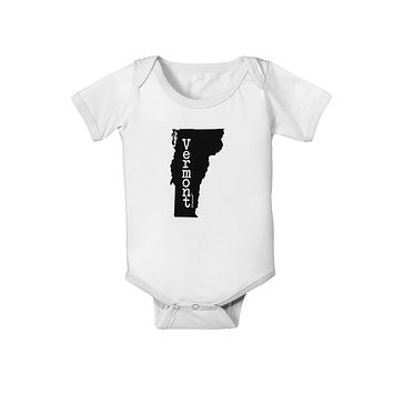 Vermont - United States Shape Baby Romper Bodysuit by TooLoud
