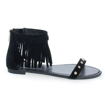 Candice53M Black Faux Suede by Bamboo, Moccasin Open Toe Studded Ankle Fringe Cuff Flat Sandals