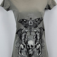 Rare Jaded by Knight Fitted T-Shirt Moth, Triangle, Demons, Angels, Roses, Skull S XS