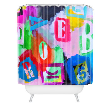 Natalie Baca Alphabet City Shower Curtain