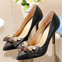 GUCCI Women New Fashion High Quality Diamond Pearl Bee Bow 9 CM High Heels Shoes Black