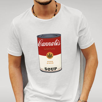 Features Cannabis parody print based on Campbell's Soup design. Inspired by the popular TV series 'That 70's Show'