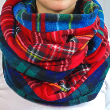 Plaid Infinity Scarf, Fleece Scarf, Blackwatch, Blue & Red Tartan Infinity, Red Plaid, Chunky Scarf, Back to School, Oversized Scarf, Gift