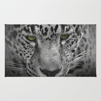 An Intense Stare - Wildlife - Leopard Area & Throw Rug by Jai Johnson