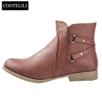 Brand Europe Style Women Ankle Boots Heels Soft Leather Boots Casual Winter Rubber Shoes Woman Buckle Loose Female Boots 41 42