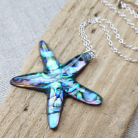 Starfish Pendant Necklace, Paua Shell Starfish Large Pendant, Iridescent Natural Paua Abalone Shell Starfish Sterling Silver Necklace, Beach