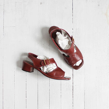 Vintage 60s Oxblood Leather Heeled Sandals | women's 7.5