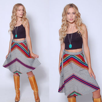 Vintage 70s CHEVRON Stripe Skirt RAINBOW Stripe Skirt A- Line Hippie Skirt Belted Boho Skirt