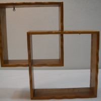 1950's Vintage Interlocking Wood Wall Shadow Box Shelf Display Hanging Curio Nicknacks