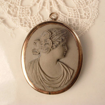 Antique LAVA Cameo Necklace Pendant Brooch, Vintage Large Victorian High Relief Carved Lava Cameo Gold Filled EXQUISITE 1800s