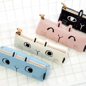 1X Kawaii Cute Lovely Rabbit Canvas Zipper Pencil Pen Bag Storage Pouch School Office Supply Student Stationery Gift