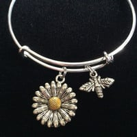 Two Toned Daisy and Bee Charm Adjustable Expandable Bangle Bracelet Silver Handmade Wire Bangle Stacking Bangle Trendy