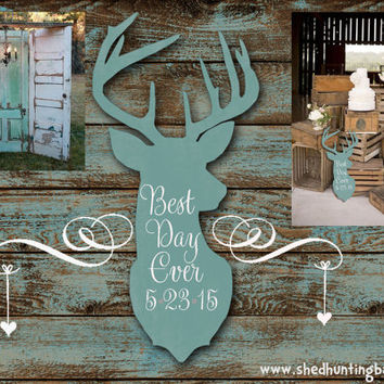"Personalized Best Day Ever Whitetail Deer Wooden Sign 25"" Wedding Decor 