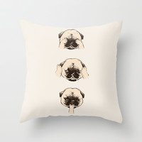 No Evil Pug  Throw Pillow by Huebucket
