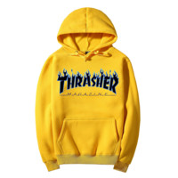 """Thrasher""Fashion Flame skateboard leisure loose hooded sweater yellow"