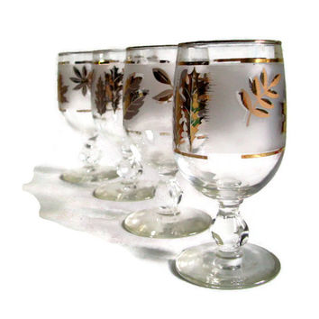 Mid Century Libbey Glasses, Gold Leaf,  Frosted Glass, Cordials, Stemware, Vintage Barware, Set of 4, Retro Glassware, Cocktails