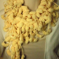 Yellow PomPom Scarf Fall Winter Fashion Neckwarmer