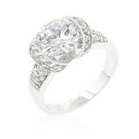Tension Set Cubic Zirconia Engagement Ring, size : 10