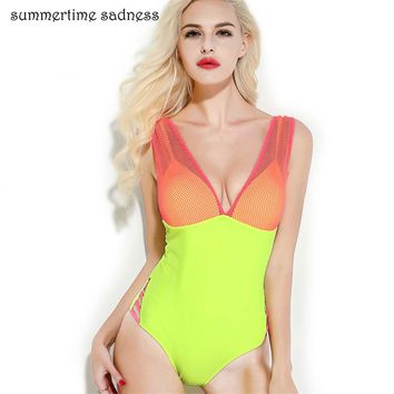 Popular New Design Bathing Suit Female Mesh Sheer One Piece Swimsuit Sexy Plunging Neck Swimwear Women Maillot De Bain Femme