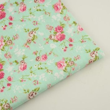 Bedding Twill 100%  Cotton Fabric Green Printed Floral Designs Home Textile Decoration Tecido Sewing Cloth Fabric Quilting Tela