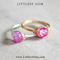 Pink and Purple Ring - wire wrapped jewelry handmade - unique rings - custom ring
