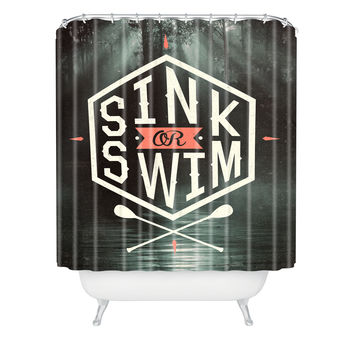 Wesley Bird Sink Or Swim Shower Curtain