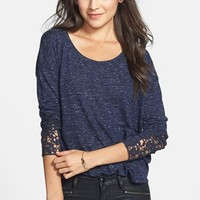 Elodie Crochet Sleeve Jersey Top (Juniors) | Nordstrom
