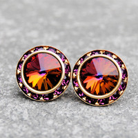 Rainbow Purple Rhinestone Stud Earrings Swarovski Dark Rainbow Earrings Purple Bridesmaid Earrings Sugar Sparklers Mashugana