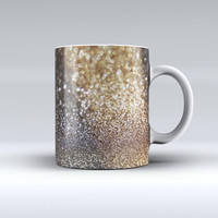 The Gold and Black Unfocused Glimmering RainFall ink-Fuzed Ceramic Coffee Mug