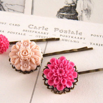 Pink Hair Pin Set, Hot Pink Hair Pin, Pale Pink Hair Pin, Fuchsia Hair Pin, Valentine's Day, Set of 3 Hair Pins - Pink Bouquet Hair Pin Set
