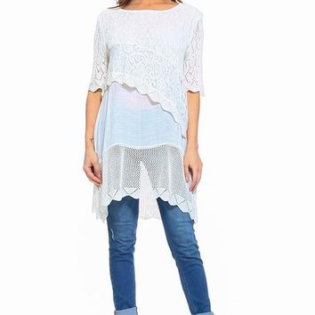 Bohemian Lace Trim Layered Top