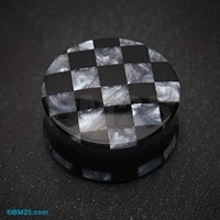 Marble Checker Double Flared Ear Gauge Plug