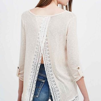 Blu Pepper Lace Trim Split-Back Top in Peach - Urban Outfitters