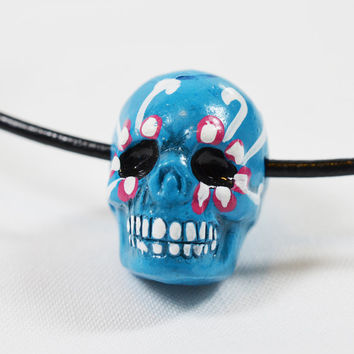 Painted Skull Beads, 2 Beads, Turquoise  Skulls, Day Of The Dead Beads