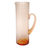 Hand Blown Martini Pitcher, Pink Glass Cocktail Pitcher, Large