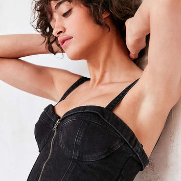 GUESS Tailored Denim Bustier Top - Urban Outfitters