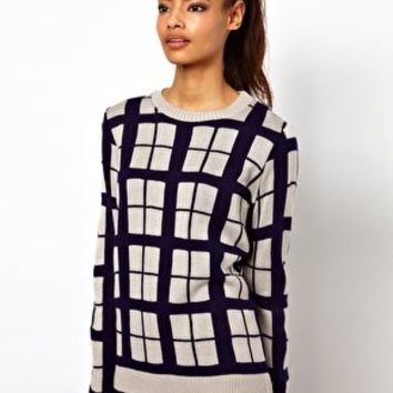 ASOS Check Jumper In Contrast Yarn at asos.com