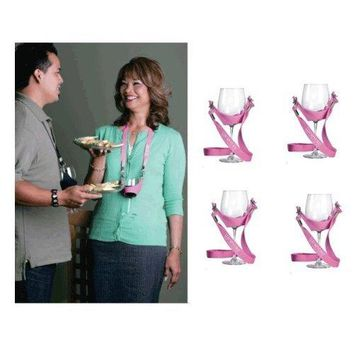 WineYoke Party Time Hand Free Wine Glass Holder Necklace  Set of 4 BLACK