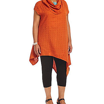 Bryn Walker Plus Windowpane Linen Noa Tunic - Sunrise