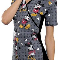 Buy Disney Women Text Me Mickey Mock Wrap Scrub Top for $22.45